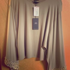 Sheri Bodell flowy beige jewel trim formal blouse